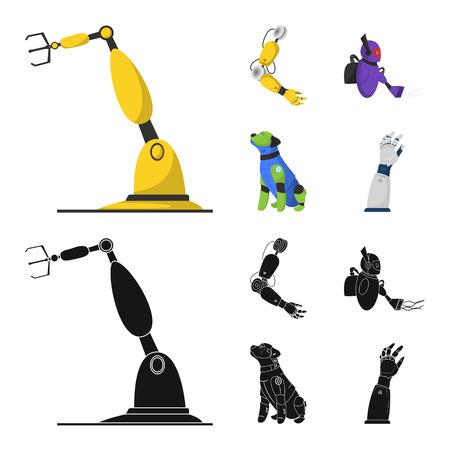 Diseño vectorial de robot y símbolo de fábrica. Colección de ilustración vectorial de stock robot y espacial.