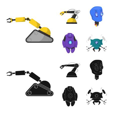 Objeto aislado de robot y signo de fábrica. Colección de ilustración vectorial de stock robot y espacial. Ilustración de vector