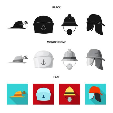 Diseño vectorial de icono de sombrero y gorra. Conjunto de icono de vector de sombrero y accesorio para stock.
