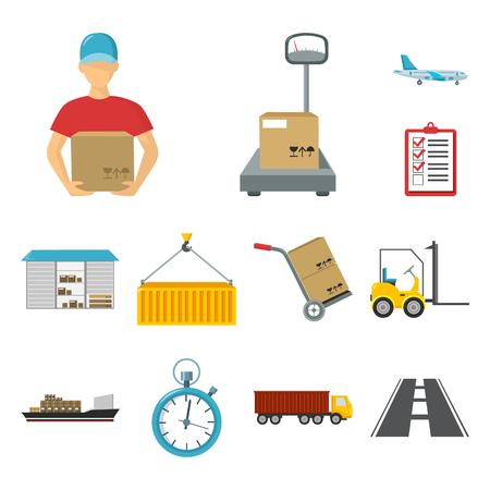 Servicio de logística, dibujos animados, iconos de colección set de diseño. Ilustración de stock de símbolo de vector de logística y equipo.