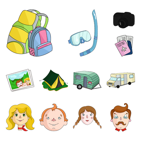 Family holiday cartoon icons in set collection for design. Recreation and equipment. vector symbol stock  illustration.  イラスト・ベクター素材