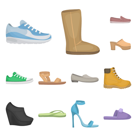 A variety of shoes cartoon icons in set collection for design. Boot, sneakers vector symbol stock  illustration. 向量圖像