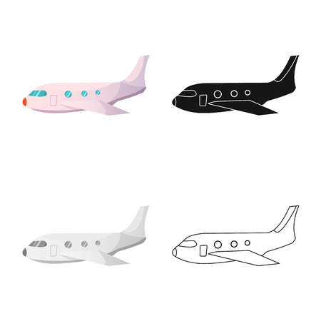 Isolated object of airport and airplane icon. Collection of airport and plane stock vector illustration. Иллюстрация