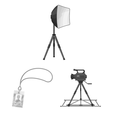 Making a movie monochrome icons in set collection for design. Attributes and Equipment bitmap symbol stock web illustration. Stock Photo