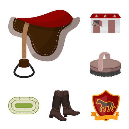 Hippodrome and horse cartoon icons in set collection for design. Horse Racing and Equipment bitmap symbol stock web illustration. Stock Photo