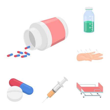 Medicine and treatment cartoon icons in set collection for design. Medicine and equipment bitmap symbol stock web illustration. Stock Photo