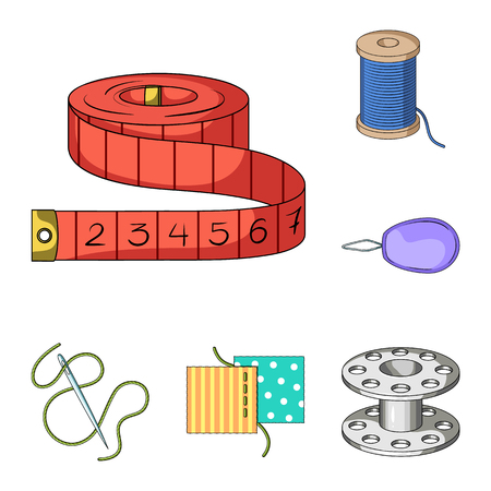 Sewing, atelier cartoon icons in set collection for design. Tool kit bitmap symbol stock web illustration. Banco de Imagens