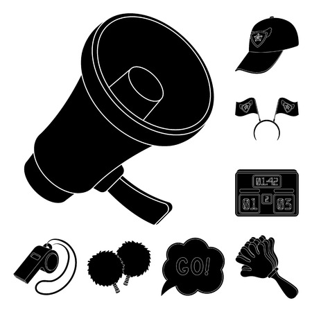Fan and Attributes black icons in set collection for design. Sports Fan bitmap symbol stock web illustration.