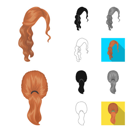 Female hairstyle cartoon,black,flat,monochrome,outline icons in set collection for design. Stylish haircut bitmap symbol stock web illustration.