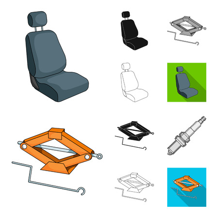 Car, vehicle cartoon,black,flat,monochrome,outline icons in set collection for design. Car and equipment bitmap symbol stock web illustration.