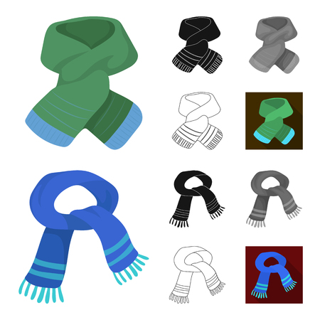 Scarf and Shawl cartoon,black,flat,monochrome,outline icons in set collection for design.Clothes and Accessory bitmap symbol stock  illustration. Фото со стока