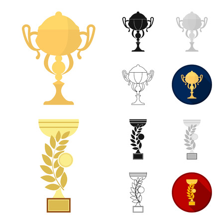 Gold Cup cartoon,black,flat,monochrome,outline icons in set collection for design. Winners Cup bitmap symbol stock  illustration. 스톡 콘텐츠