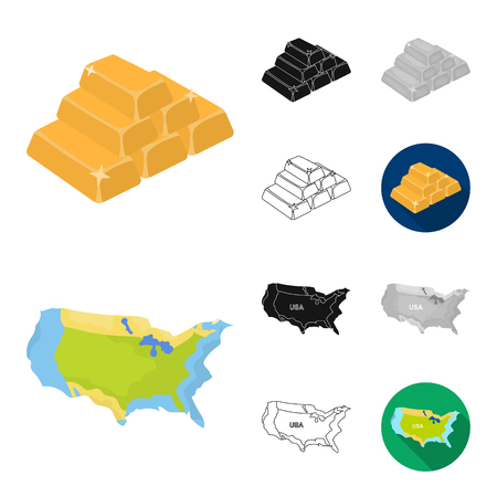 USA country cartoon,black,flat,monochrome,outline icons in set collection for design.Travel and attractions bitmap symbol stock web illustration. Banco de Imagens