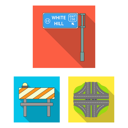 Road junctions and signs and other icon in flat style.Pedestrian crossings and signs icons in set collection.