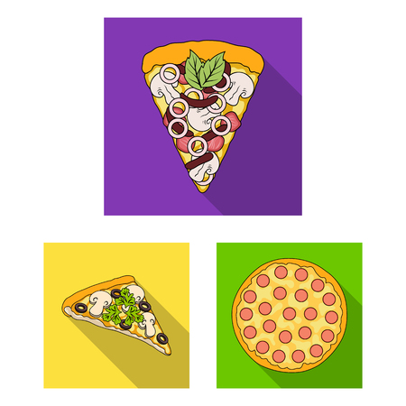Different pizza flat icons in set collection for design.Pizza food vector symbol stock illustration.