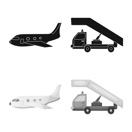 Vector illustration of airport and airplane sign. Collection of airport and plane stock symbol for web. Иллюстрация