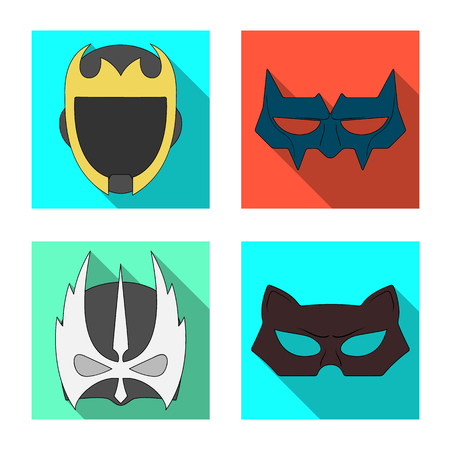 Vector design of hero and mask logo. Collection of hero and superhero vector icon for stock.