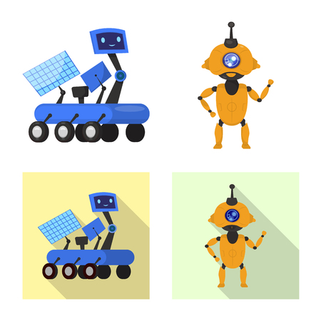 Vector design of robot and factory symbol. Collection of robot and space stock symbol for web.