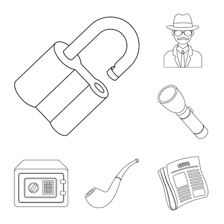 Detective and Attributes outline icons in set collection for design.Detective Agency vector symbol stock  illustration.