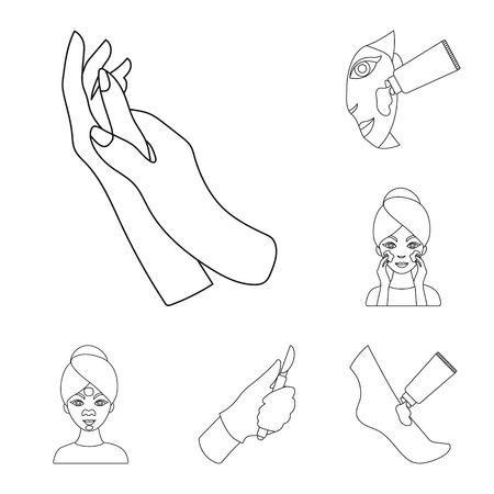 Cuidado de la piel, los iconos de contorno de colección set de diseño. Ilustración de stock de símbolo de vector de cara y cuerpo.