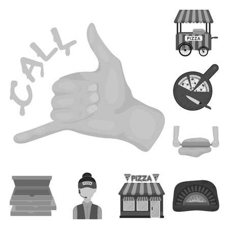 Pizza and pizzeria monochrome icons in set collection for design. Staff and equipment vector symbol stock  illustration. Ilustração