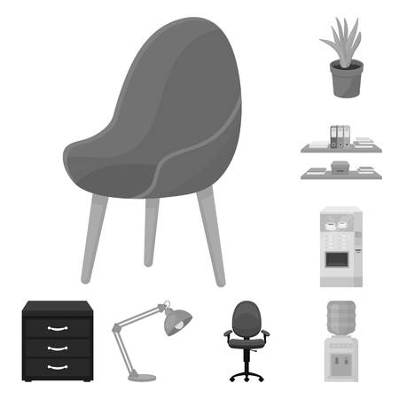 Interior of the workplace monochrome icons in set collection for design. Office furniture vector symbol stock  illustration.