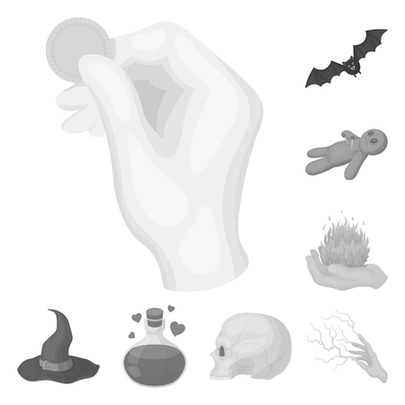 Black and white magic monochrome icons in set collection for design. Attributes and sorceress accessories vector symbol stock  illustration.