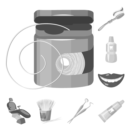 Dental care monochrome icons in set collection for design. Care of teeth vector symbol stock  illustration.