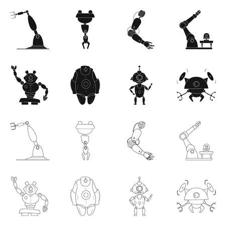 Vector design of robot and factory symbol. Collection of robot and space vector icon for stock.