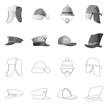 Vector design of headgear and cap logo. Set of headgear and accessory stock symbol for web. Illustration