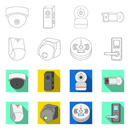 Vector illustration of cctv and camera symbol. Collection of cctv and system vector icon for stock. Illustration