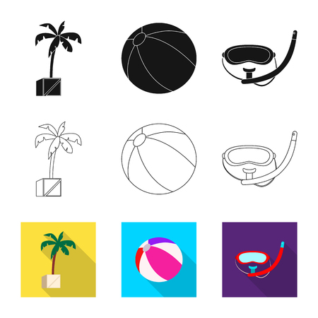 Vector illustration of pool and swimming icon. Set of pool and activity stock symbol for web.