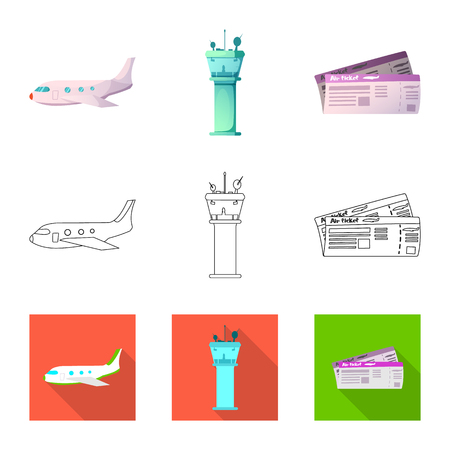 Vector illustration of airport and airplane symbol. Set of airport and plane vector icon for stock. Иллюстрация