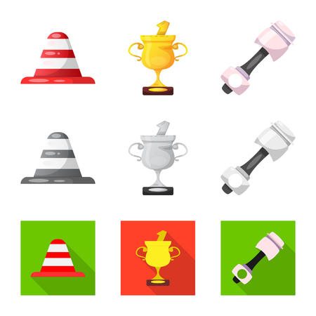 Vector design of car and rally icon. Collection of car and race vector icon for stock.