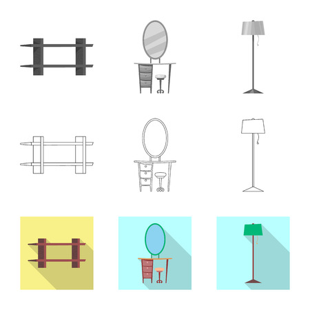 Isolated object of furniture and apartment sign. Collection of furniture and home vector icon for stock. Illustration