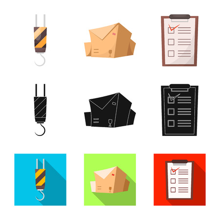 Vector illustration of goods and cargo logo. Set of goods and warehouse stock vector illustration.
