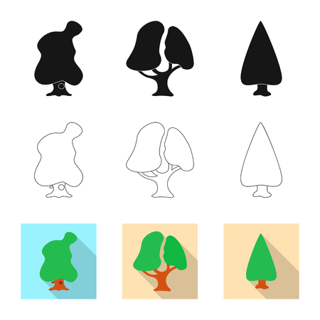Vector design of tree and nature sign. Collection of tree and crown stock vector illustration.