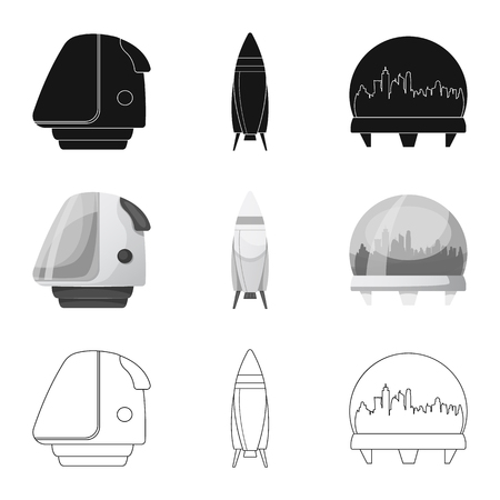 Vector illustration of mars and space symbol. Collection of mars and planet vector icon for stock.