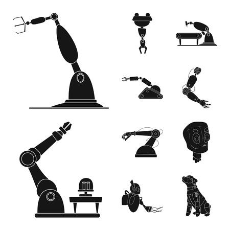 Objeto aislado de robot y logotipo de fábrica. Conjunto de ilustración de vector stock robot y espacio.