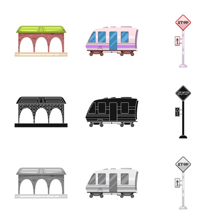 Isolated object of train and station sign. Set of train and ticket vector icon for stock.