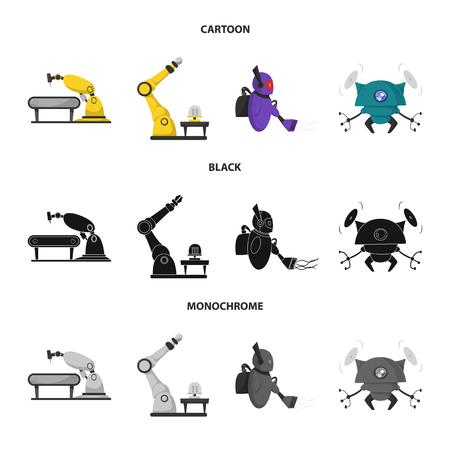 Ilustración de vector de robot y signo de fábrica. Conjunto de icono de vector de robot y espacio para stock. Ilustración de vector