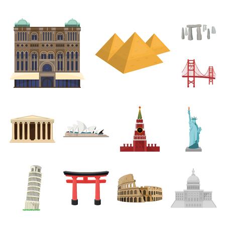Lugares de interés de diferentes países, dibujos animados, iconos de colección set de diseño. Ejemplo famoso del web de la acción del símbolo del vector del edificio.