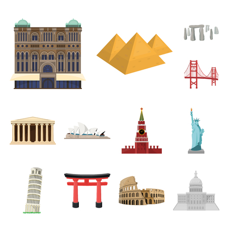 Sights of different countries cartoon icons in set collection for design. Famous building vector symbol stock web illustration.