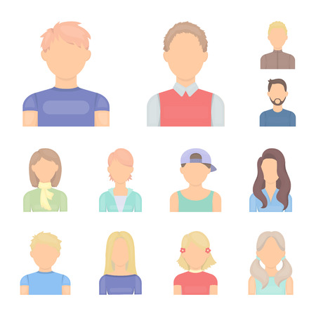 Avatar and face cartoon icons in set collection for design. A person s appearance vector symbol stock web illustration. Illustration