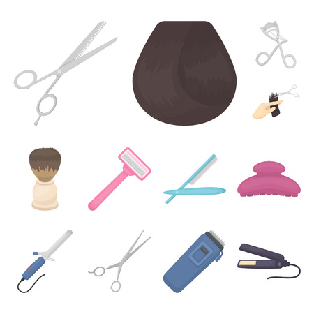 Hairdresser and tools cartoon icons in set collection for design.Profession hairdresser vector symbol stock web illustration.