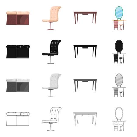 Illustrazione vettoriale di mobili e simbolo dell'appartamento. Set di mobili e casa simbolo azionario per il web.