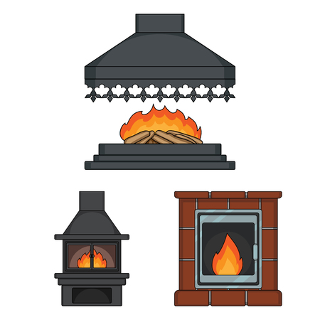 Different kinds of fireplaces cartoon icons in set collection for design.Fireplaces construction bitmap symbol stock  illustration.