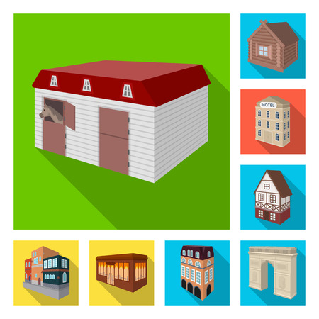 Building and architecture flat icons in set collection for design.The building and dwelling bitmap isometric symbol stock  illustration.