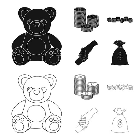 A pile of coins for donations, colored cubes with an inscription, a handshake, a bag of money for donations. Charity and donation set collection icons in black,outline style bitmap symbol stock illustration .