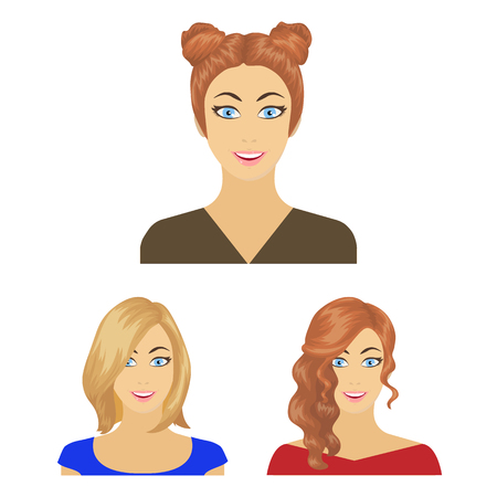 Avatar and face cartoon icons in set collection for design. A person appearance bitmap symbol stock web illustration. Banque d'images - 108761583